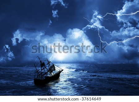 the sailing-ship in time of storm from lightnings