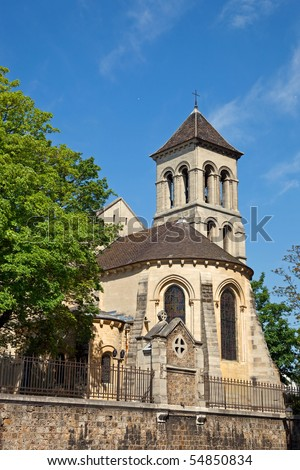 The Saint Pierre de Montmartre medieval church on the side of Sacre Coeur church in Paris, France.
