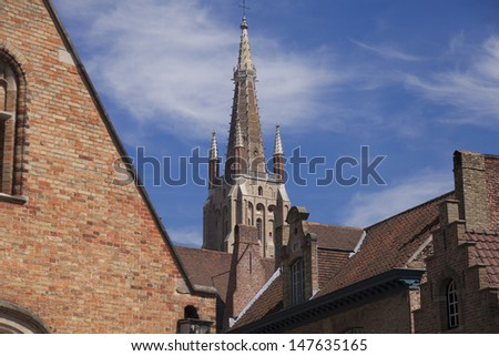 The Saint Salvador Cathedral in Bruges and roofs of old houses