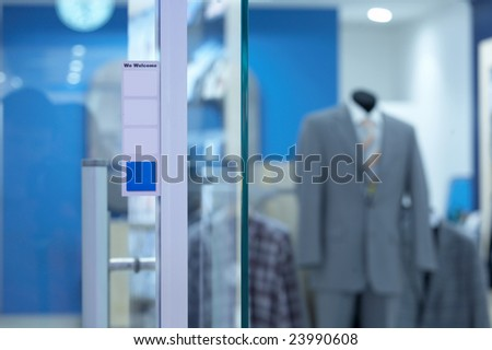 The sales department of modern men's wear outside