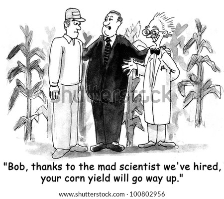 The salesman explains to the farmer, 'Bob, thanks to the mad scientist we've hired, your corn yield will go way up'. Stock fotó ©