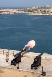 The Saluting Battery (Maltese: Batterija tas-Salut) is an artillery battery in Valletta, Malta being fired daily and this shot shows the exact moment the cannon exploded.
