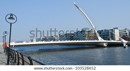 The Samuel Beckett Bridge crosses the Liffey River in Dublin. The structure, designed with a cable-stay method of suspension, is said to resemble an Irish harp.