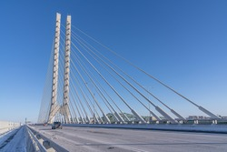 The Samuel De Champlain Bridge is a twin cable-stayed bridge built to replace the original Champlain Bridge over the Saint Lawrence River in Quebec between the Island of Montreal and the South Shore.