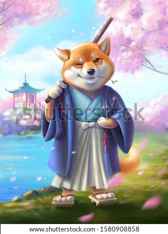 The samurai dog character  with a katana sword. Character Shiba inu. Landscape with sakura branches, lake and hills in japanese style.