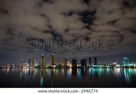 The San Diego downtown core at night