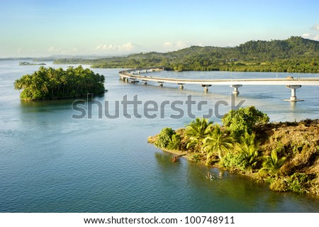 The San Juanico Bridge, view from Leyte, towards Samar. Philippines