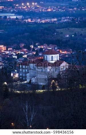 The Sanctuary of Graglia lit in the night #598436156