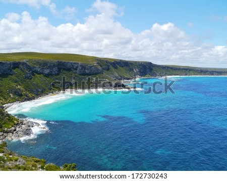The sand beach bay near the remarkable rocks on Kangaroo island in Australia