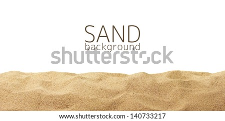 the sand scattering isolated on ...