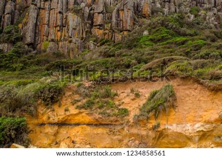the sandstone and dolerite rock faces of Narawntapu National Park in Tasmania