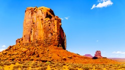 The sandstone formation of Cly Butte in the desert landscape of Monument Valley Navajo Tribal Park in southern Utah, United States