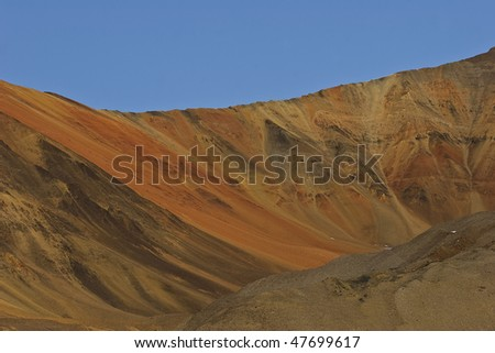 the sandy and rocky hills in the tundra, greenland