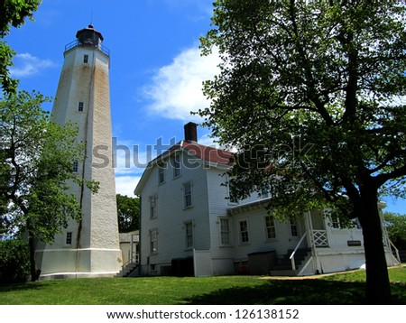 The Sandy Hook Lighthouse and light keeper's house in Sandy Hook, NJ.  The lighthouse was built in 1764 and has been in continuous use.  Today it is part of Gateway National Recreation Area.