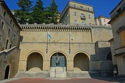 The Santa Agata Square in the Republic of San Marino with the bronze statue of Girolamo Gozi, liberator of San Marino