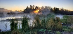 The Santa Cruz river at sunrise on a cold morning with a heavy mist or fog rising from the water. Sunlight peaking through trees and steam with a clear sky and green reeds on the banks of the shore.
