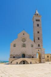 The Santa Maria Assunta Cathedral, also named San Nicola Pellegrino Cathedral located in duomo square of Trani. Minor basilica in Apulian Romanesque architecture. Trani Puglia region, Italy