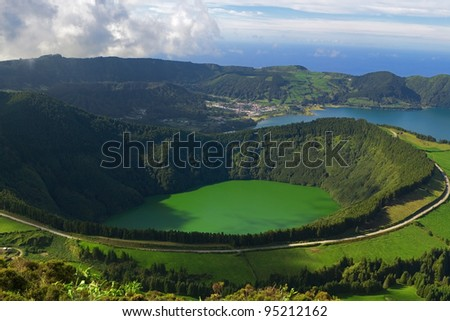 The Santiago Lagoon, and the Blue Lagoon behind, at Sete Cidades, Azores, San Miguel, Portugal