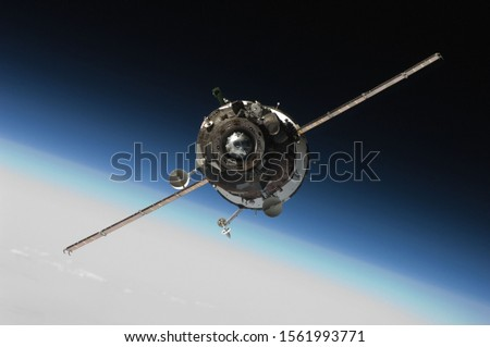 The satellite in Earth orbit in the space