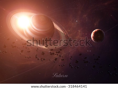 The Saturn with moons shot from space showing all they beauty. Extremely detailed image, including elements furnished by NASA. Other orientations and planets available.