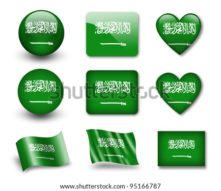 The Saudi Arabia flag - set of icons and flags. glossy and matte on a white background.