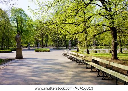 The Saxon Garden (Polish: Ogrod Saski) in spring, public park in the city center of Warsaw, Poland - stock photo