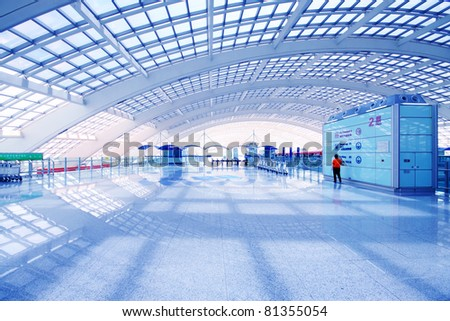 the scene of  airport building in beijing in china. - stock photo