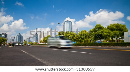 the scene of the century square pudong shanghai china.