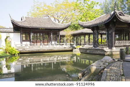 the scene of the chinese garden