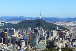 The scenery of central Seoul and Namsan Mountain