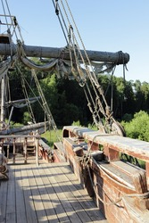 The scenery of the medieval ship cinema town Pilgrim Porto, Moscow region, Russia