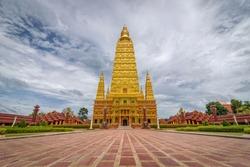The scenery of the Wat Bang Thong temple (golden pagoda) at Krabi province, Thailand.