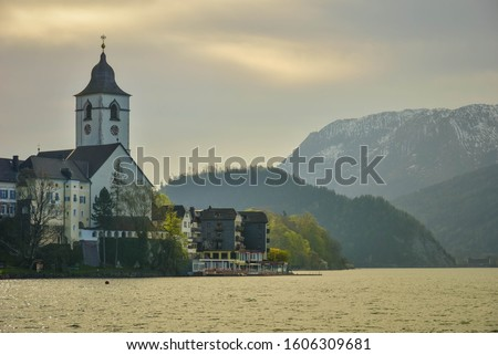 The scenic lakeview from St.Wolfgang Austria