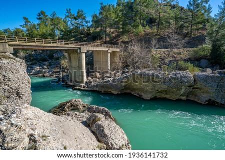 the scenic view of Köprüçay (Eurymedon) river at Köprülü Kanyon, Antalya Stok fotoğraf ©
