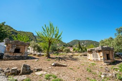 The scenic view of The Tomb of Amyntas, also known as the Fethiye Tomb, is an ancient Greek rock-hewn tomb at ancient Telmessos, in Lycia, currently in the district of Fethiye in Muğla.