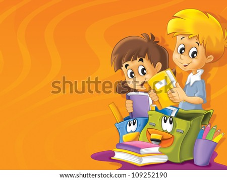 The school time - space for text - cheerful and smiling students - illustration for the children 2