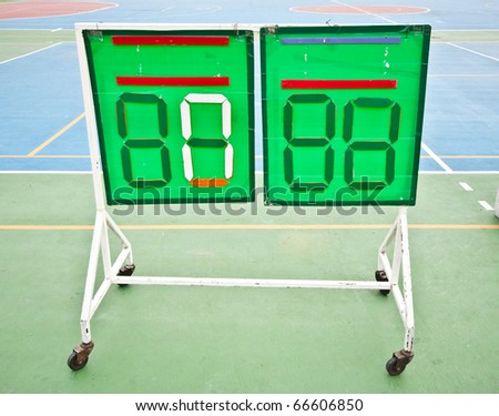 The Scoreboard of soccer on rubber floor background