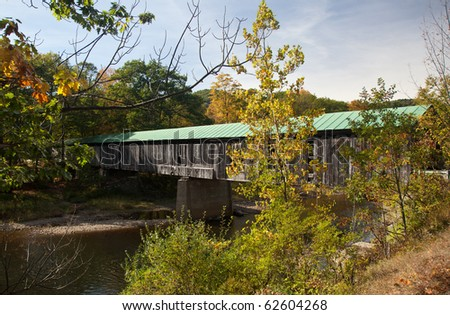 The Scott covered bridge near Townshend in Vermont - stock photo
