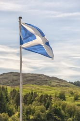 The Scottish flag blows in the wind as Scotland gets ready to vote for independence from the UK.