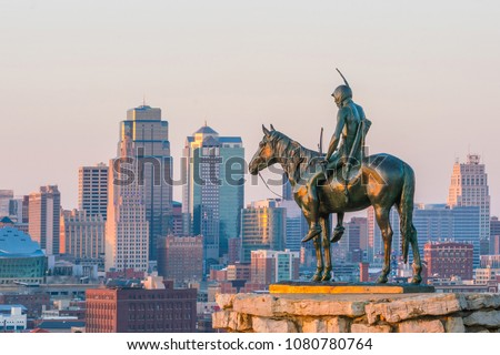 The Scout overlooking(108 years old statue) in downtown Kansas City. It was conceived in 1910