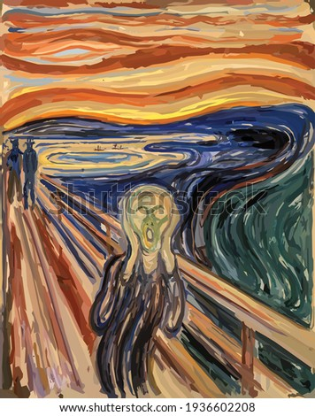 The Scream - Edvard Munch painting in Low Poly style. Conceptual Polygonal Illustration