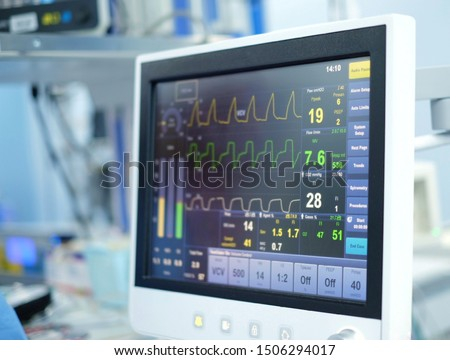 the screen of ventilator monitoring in operating room #1506294017