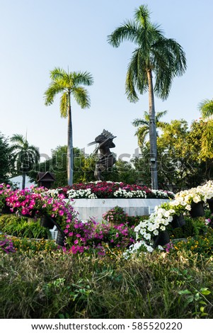 The sculpture at the center of Nong Buak Haad Park, Chiang Mai, Thailand.