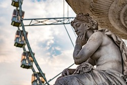 The sculpture in front of Budapest's Eye at Erzsebet square.