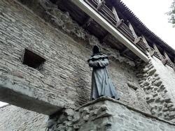 The sculpture of a monk in Danish King's Garden in old Tallinn. Estonia