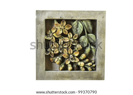The Sculpture sandstone of flower in white background