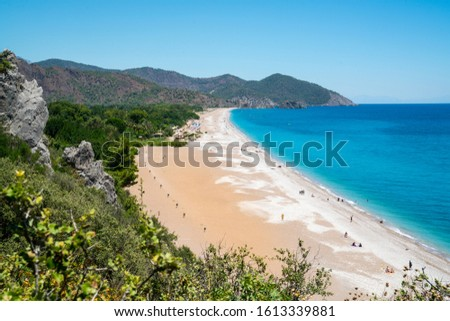 The sea and beach of Olympos (Olimpos) and Cirali, Kemer, Antalya, Turkey Stok fotoğraf ©
