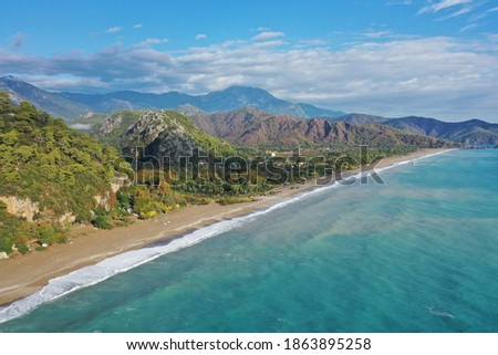 The sea and beach of Olympos (Olimpos) historic ancient city and Cirali, Kemer, Antalya, TURKEY. Air view Stok fotoğraf ©