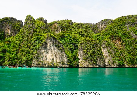 The sea and cliff at  Phi Phi Leh  Thailand