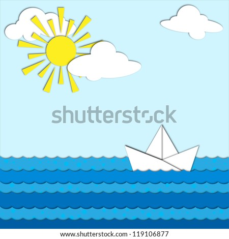 The sea and the ship made �¢??�¢??o f paper. - stock photo